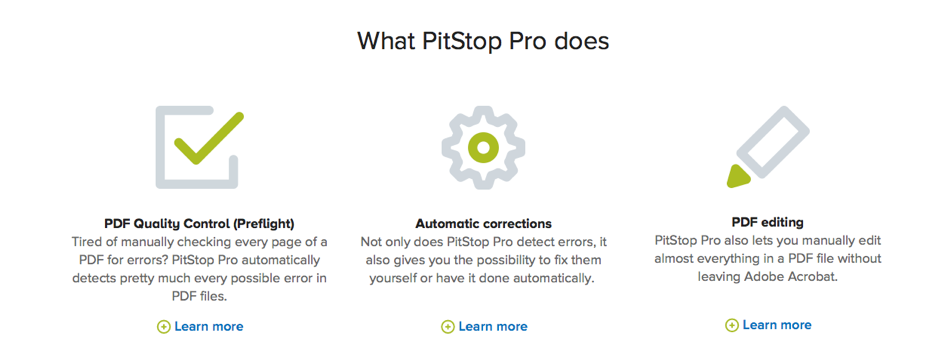 Enfocus's showpiece is PitStop Pro, the best selling pdf-tool for Acrobat.