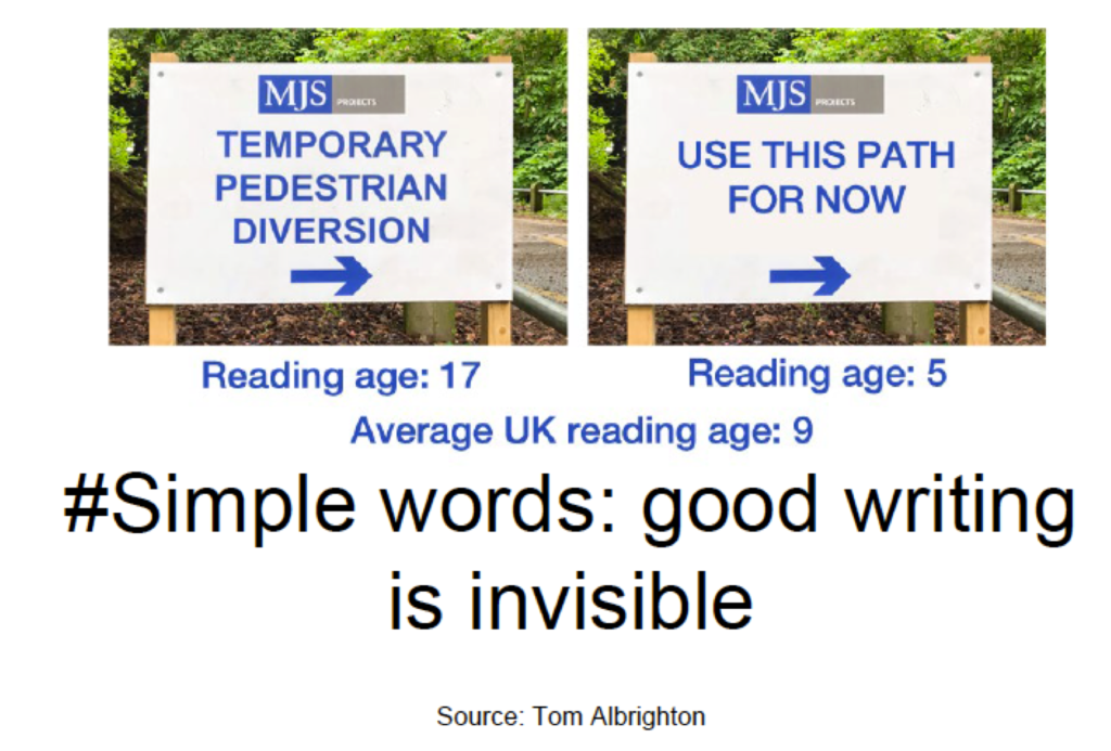 One of Anna Johnston's slides, showing very clearly why you should use simple words.