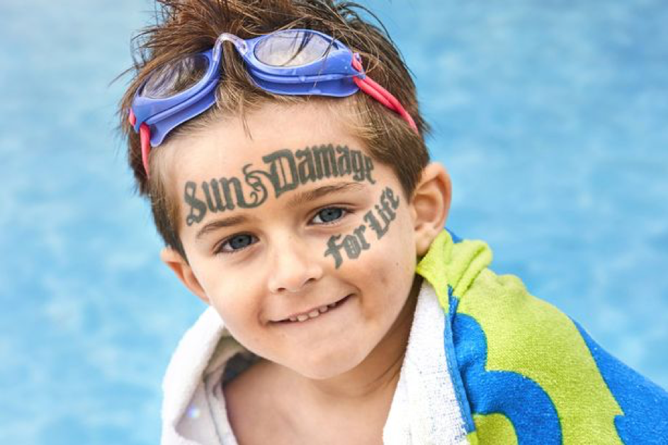 The damage the sun can do to your child's skin is like a face tattoo. (Ad by Boots Soltan)