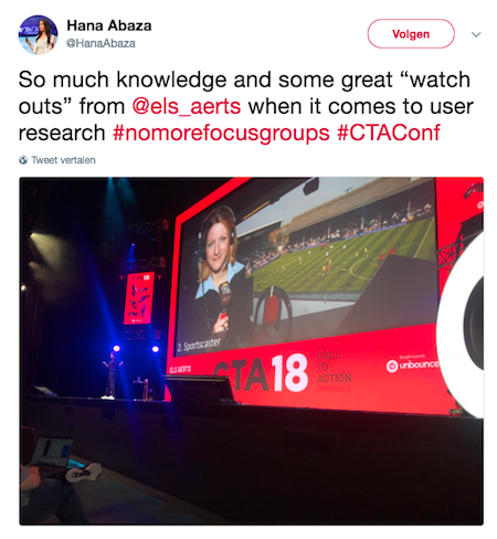 Hana Abaza's tweet about Els Aerts at CTA Conference Unbounce