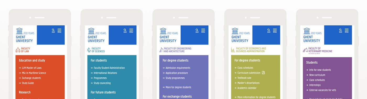 All faculty websites now follow the same basic concept. But each faculty can still stress elements that it finds important.