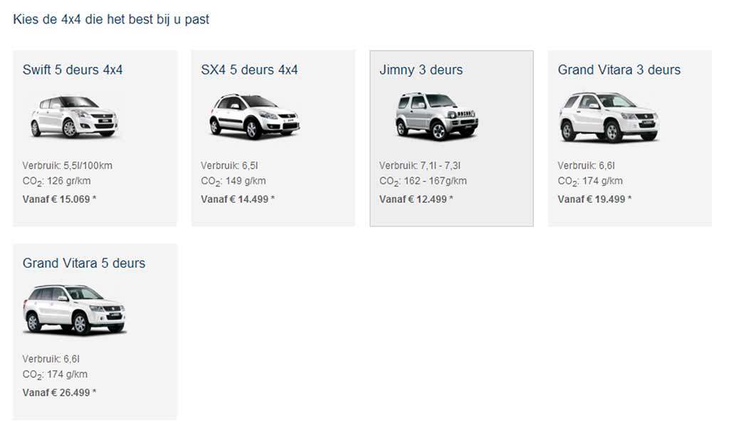 The original version of the category page with an overview of all 4x4 models