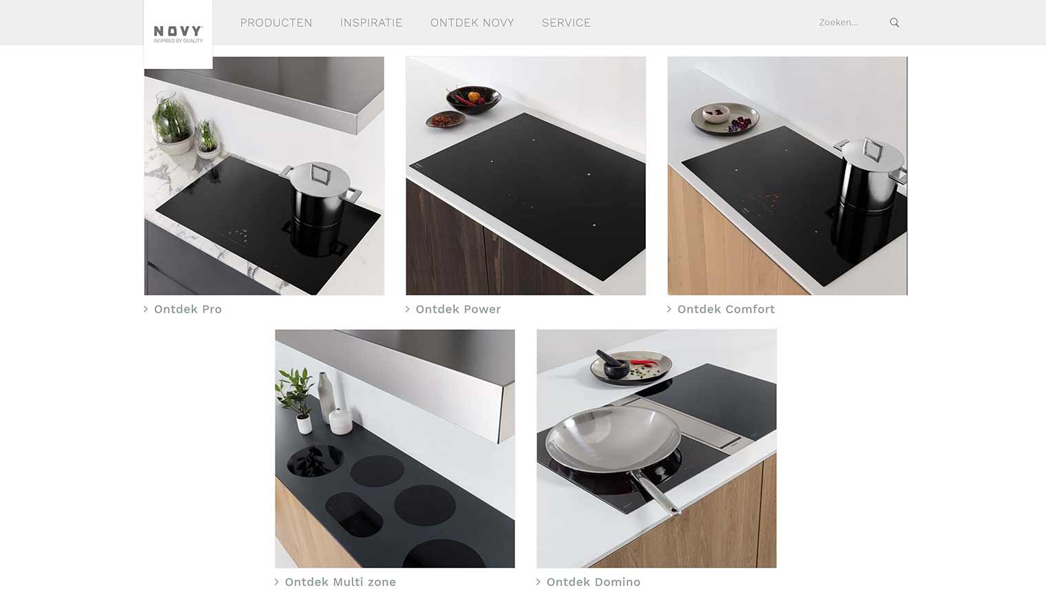 The horrible product overview on the new website of Novy