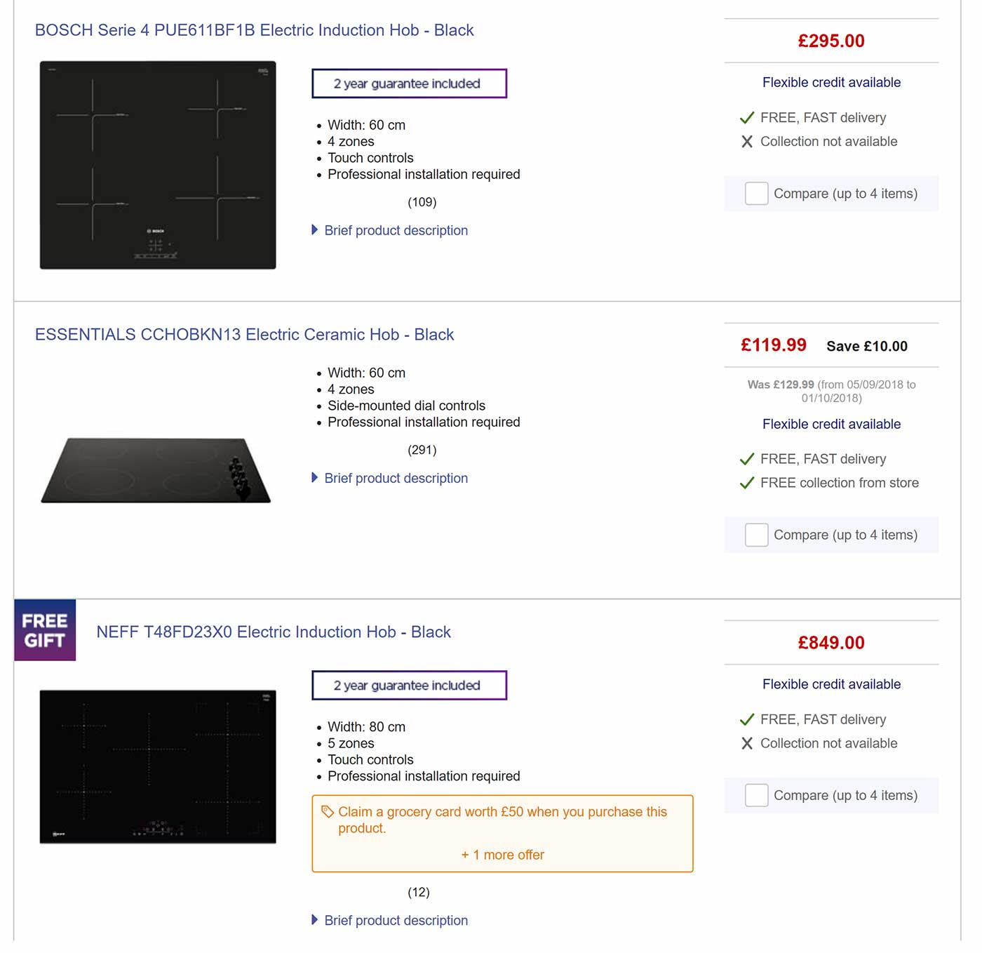 Overview page at Currys with some important decision criteria