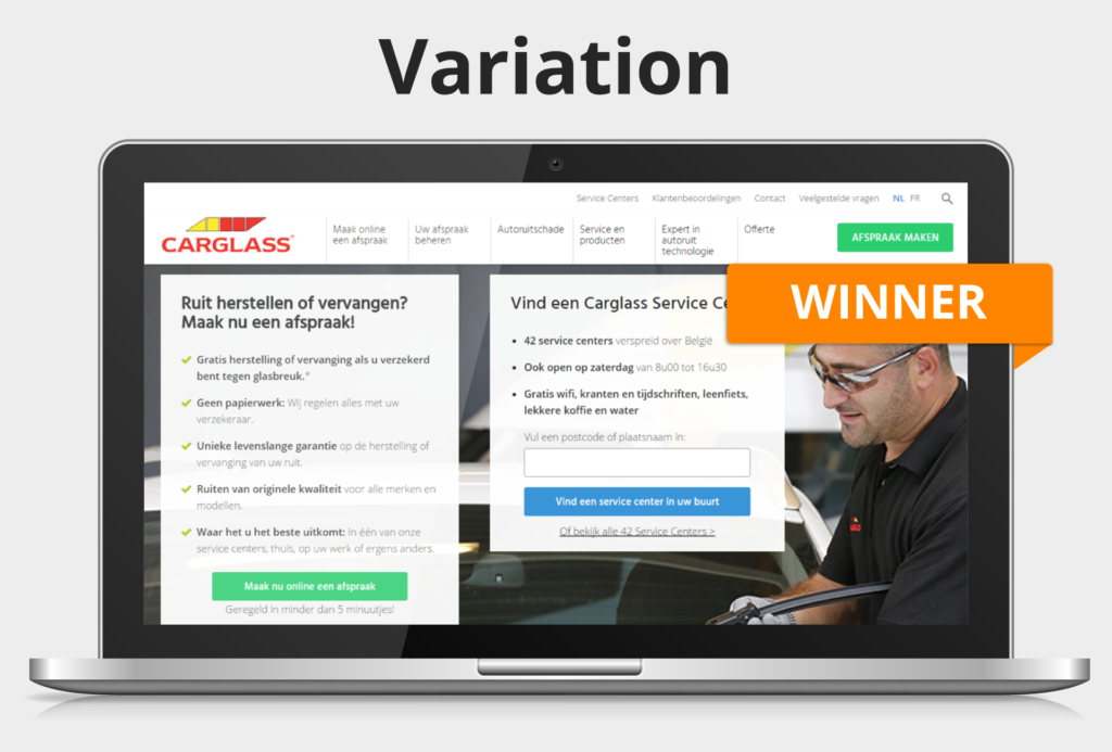 B variation of the Carglass® homepage