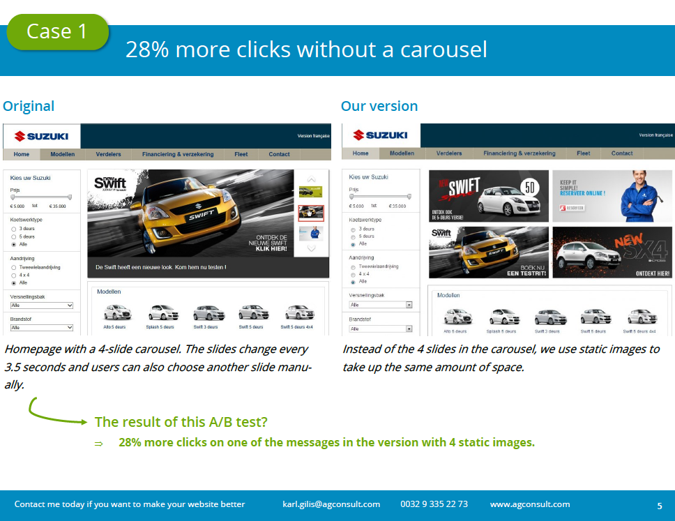 28% more clicks on static messages than on a carrousel
