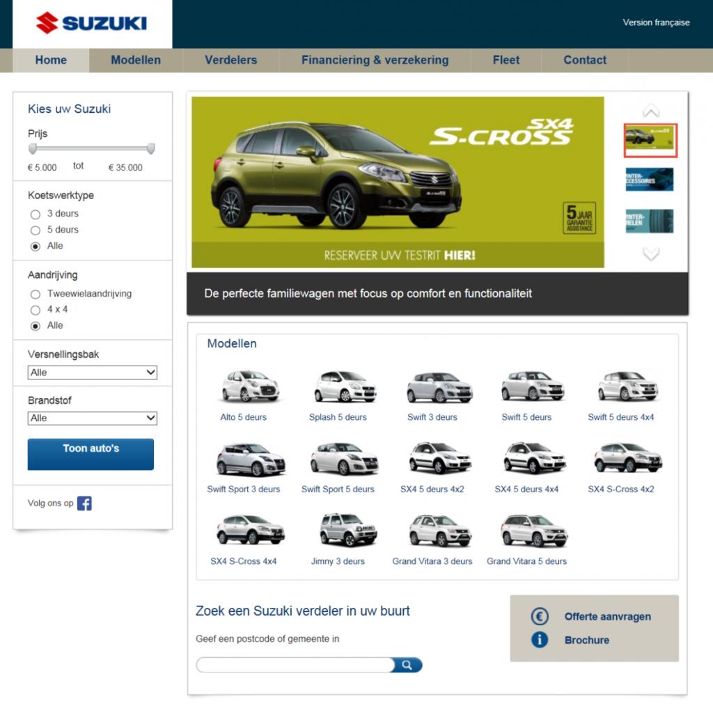 De uiteindelijke homepage van Suzuki is het toppunt van gebruiksvriendelijkheid