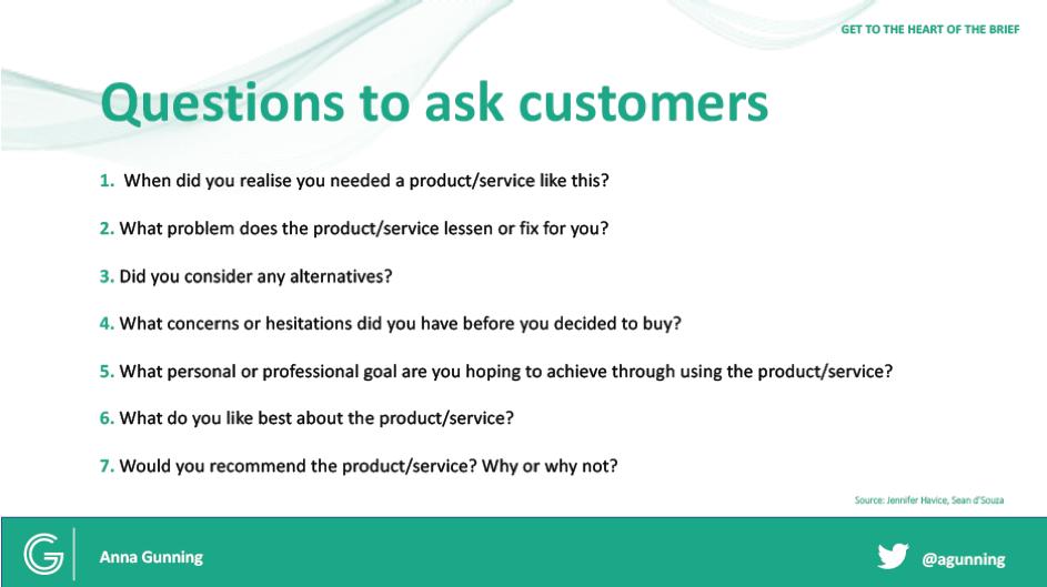 Anna Gunnings voorbeeldvragen voor een klanteninterview
