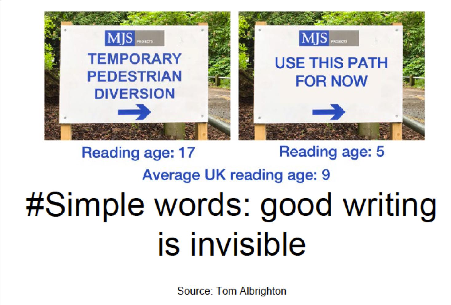 Een van Anna Johnstons slides, die duidelijk laat zien waarom je eenvoudige woorden moet gebruiken.