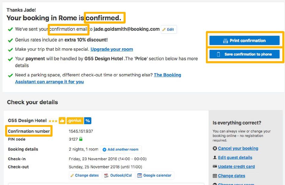 Booking.com gebruikt overal geruststellende woorden