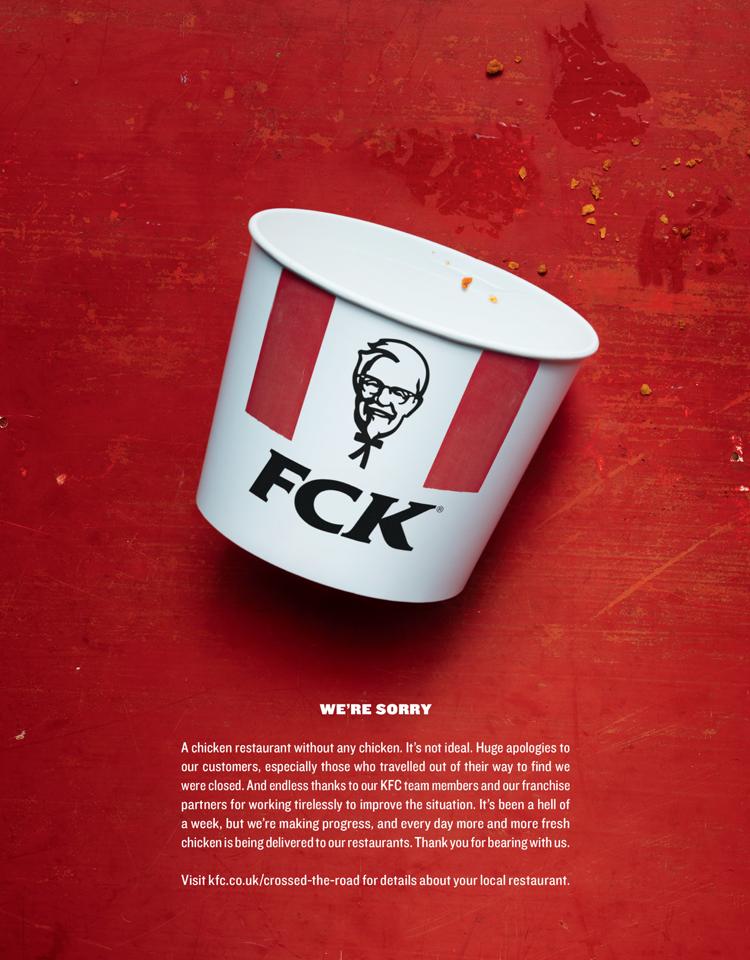 Een excuus-advertentie met een twist, bij KFC.