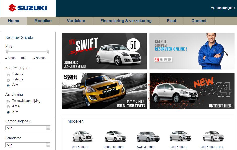 Homepage met 4 statische banners in plaats van een carrousel. De afbeeldingen hebben exact dezelfde inhoud als de sliders van het origineel.