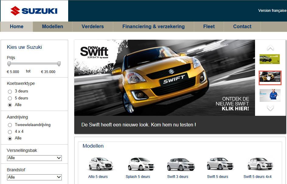 Homepage van Suzuki met de carrousel