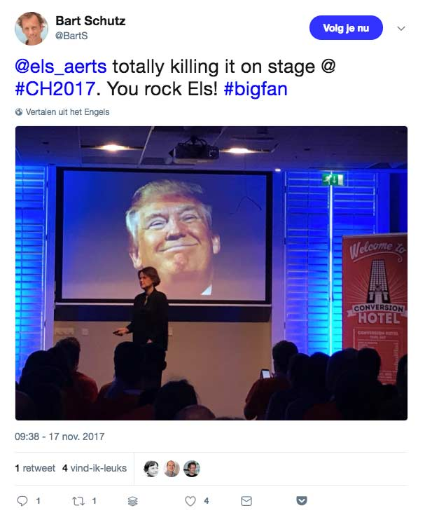 Bart Schutz tweet over Els Aerts op Conversion Hotel