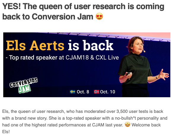 Yes! The Queen of user research is coming back to Conversion Jam