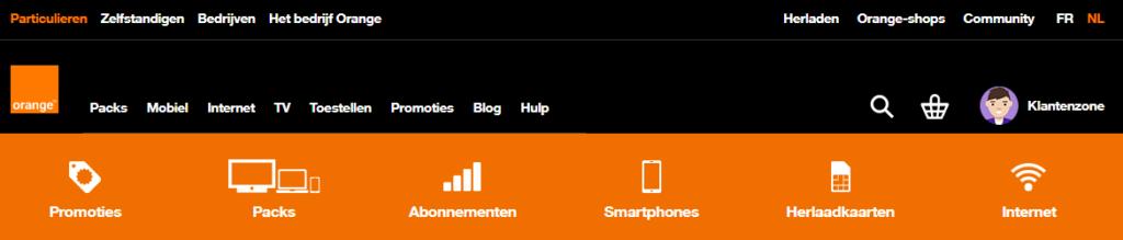 3 navigatiebalken zorgen voor te veel keuzes op de site van Orange.
