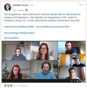 Blij gezichten in de online meeting tussen AGConsult en de Federale Pensioendienst