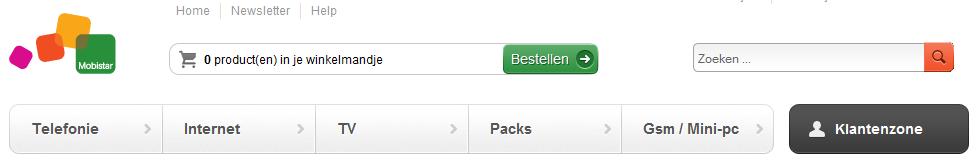 Website menu van Orange met focus op het aanbod. Nice!