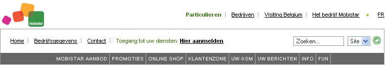 Website navigatie Mobistar in 2007. Vol vage en overlappende termen.