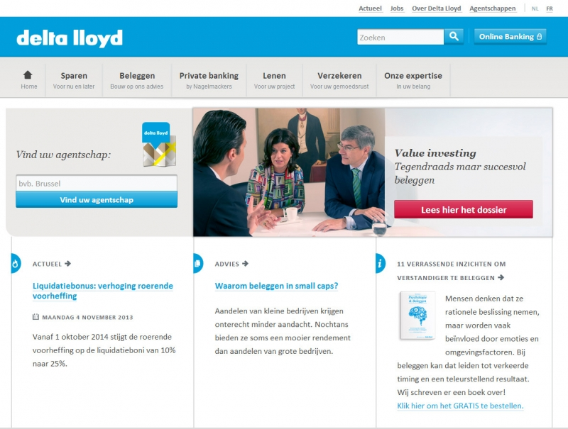 Delta Lloyd Bank homepage