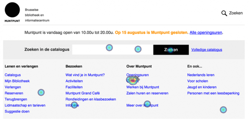 Chlkmark user test op homepage Muntpunt