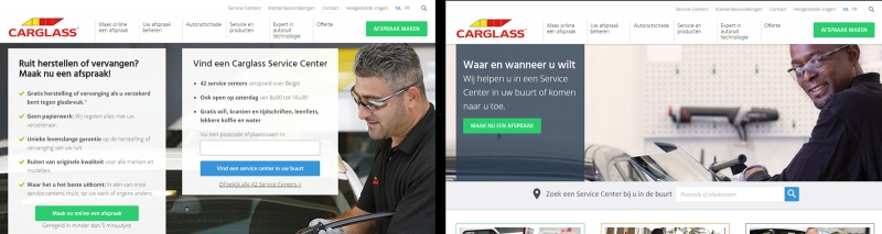 Which version of the Carglass homepage leads to more appointments?